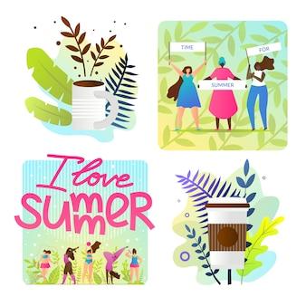 Definir ilustrações brilhantes eu amo desenhos animados de verão