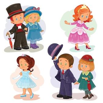 Definir ilustrações de clip art com crianças pequenas em trajes históricos