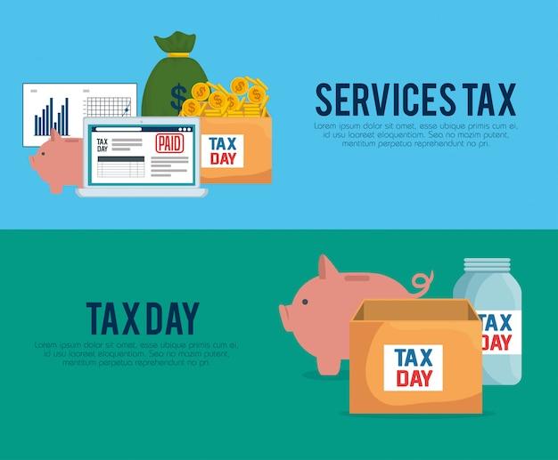 Definir imposto de relatório com laptop e moeda monetária