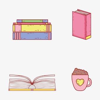 Definir informações de livros e xícara de café