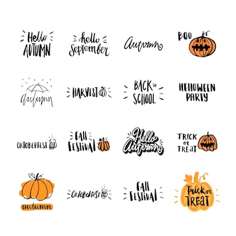 Definir inscrição desenhada à mão no tema outono