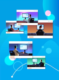 Definir jogadores virtuais jogando videogame on-line em computadores caras de conceito de torneio de competição de e-sport em fones de ouvido sentados na frente de monitores ilustração vetorial vertical