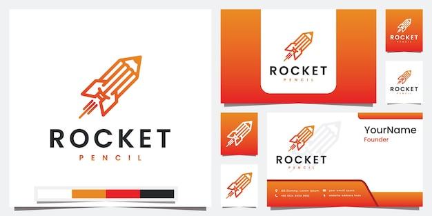 Definir lápis foguete de logotipo com logotipo de conceito de arte de linha