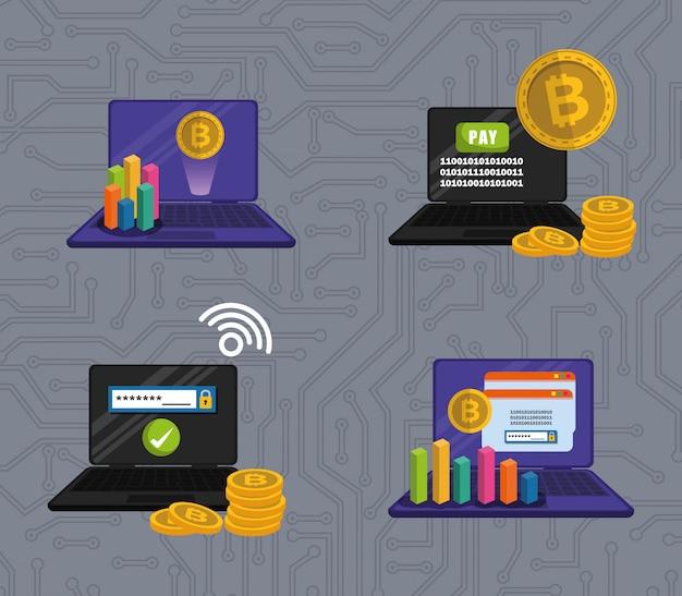 Definir laptops com moedas virtuais