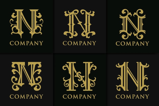 Definir letra do monograma n coleção vintage