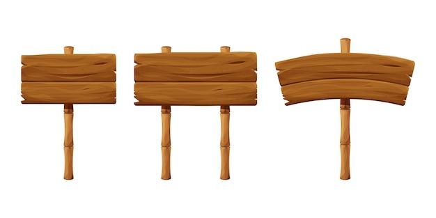 Definir letreiros de madeira com varas de bambu em estilo cartoon