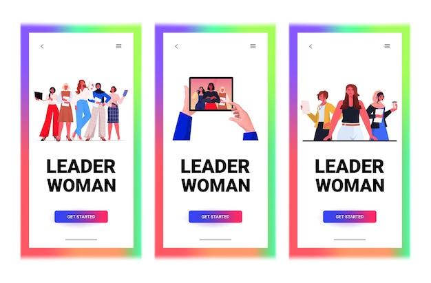 Definir líderes de mulheres de negócios trabalhando em escritório, trabalho em equipe, liderança, conceito, cópia horizontal, espaço, vetorial, illustration