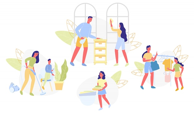 Definir limpeza doméstica com ajuda toda a família plana.