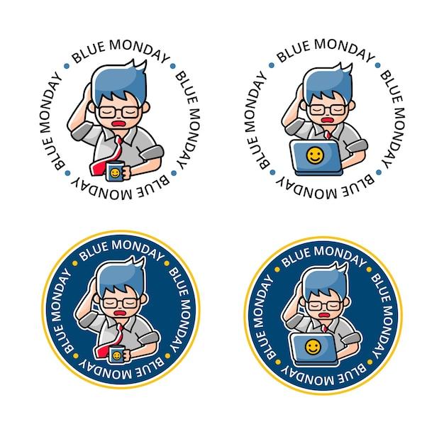 Definir logotipo azul de segunda-feira com mascote oficial de desenho animado