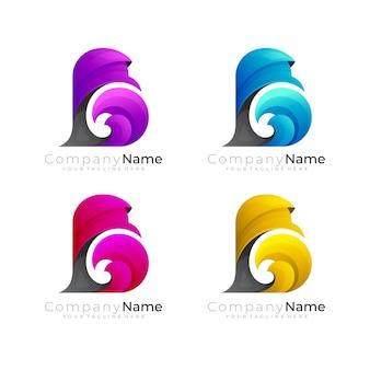 Definir logotipo b com combinação de design de onda, logotipos da letra b