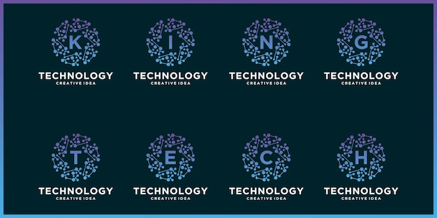 Definir logotipo criativo de uma tecnologia de círculo