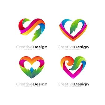 Definir logotipo de amor e combinação de design de folha, ícones de caridade