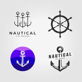 Definir logotipo de âncora de pacote ilustração vetorial náutica design vintage