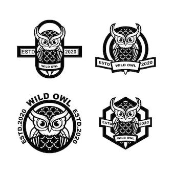 Definir logotipo de coruja vintage de ilustração