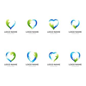 Definir logotipo de cuidado de água, amor, mão e água, logotipo de combinação com estilo de cor azul e verde 3d