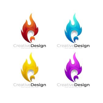 Definir logotipo de fogo com ilustração de desenho abstrato, estilo 3d