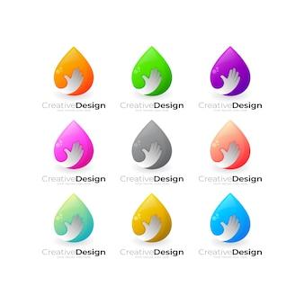 Definir logotipo de gota d'água e combinação de design de mão de pessoas, logotipos coloridos