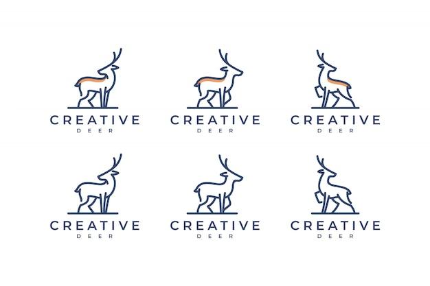 Definir logotipo de veado com conceito de linha