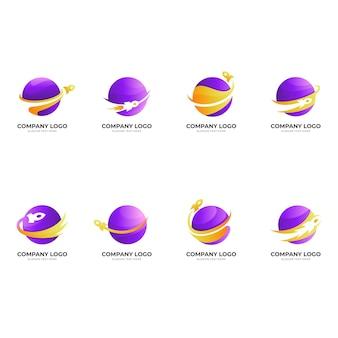 Definir logotipo do foguete planeta, planeta e foguete, logotipo de combinação com estilo colorido 3d