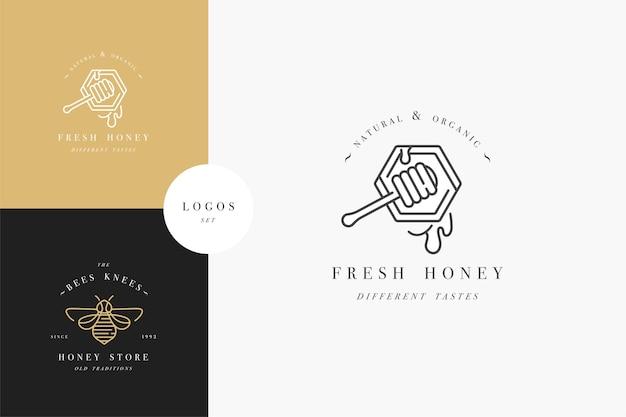 Definir logotipos de ilustração e modelos ou emblemas de design. rótulos de mel orgânico e ecológico e etiquetas com abelhas. estilo linear e cor dourada.