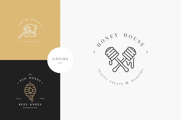Definir logotipos illustartion e modelos ou emblemas de design. orgânicos e eco mel rótulos e etiquetas com abelhas. estilo linear e cor dourada.