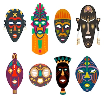 Definir máscaras africanas de diferentes formas de tribos com cores brilhantes sob os orifícios do rosto