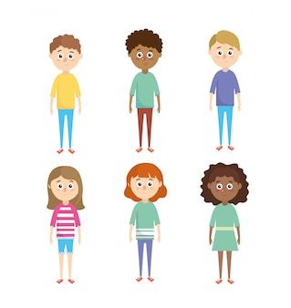 Definir meninos e meninas crianças com penteado