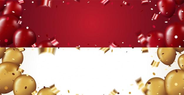 Definir modelo de banner horizontal com balões vermelhos e dourados brilhantes e confetes em fundo