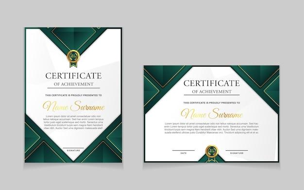 Definir modelo de certificado com formas modernas de luxo nas cores ouro e verde