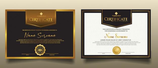 Definir modelo de certificado horizontal com fundo moderno de luxo e textura elegante.