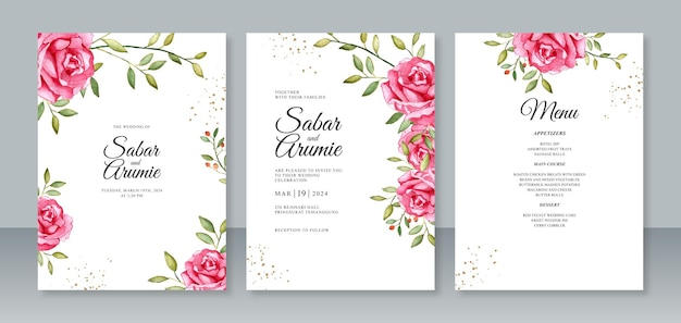 Definir modelo de convite de cartão de casamento com pintura em aquarela de rosas