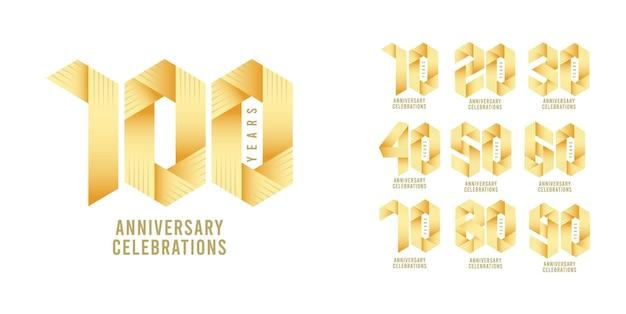 Definir modelo de design de logotipo de aniversário.
