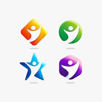 Definir modelo de design de logotipo de comunidade de pessoas
