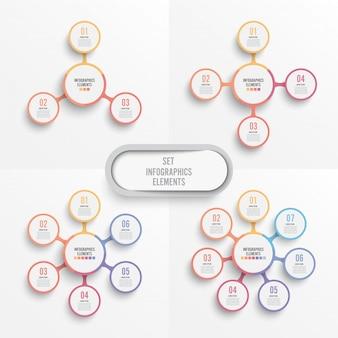 Definir modelo de infográfico de vetor com etiqueta de papel 3d