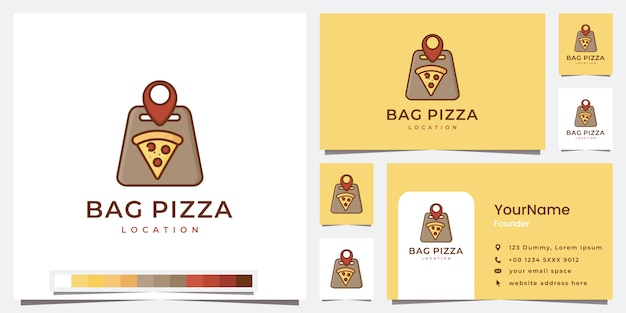 Definir modelo de localização de pizza de sacola de logotipo