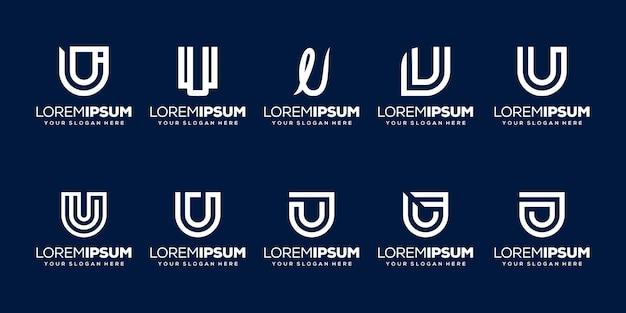 Definir modelo de logotipo da letra u inicial do pacote