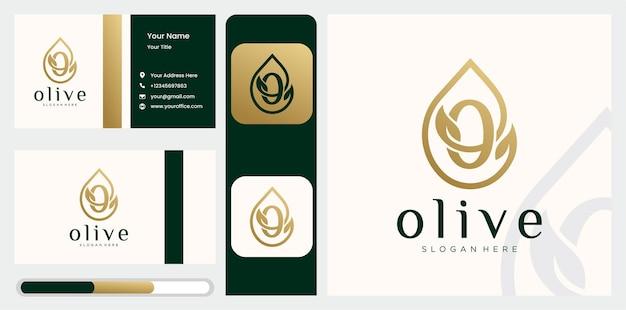 Definir modelo de logotipo de azeite de oliva letra o criativo