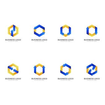 Definir modelo de logotipo de seta com estilo 3d de cor azul e amarelo