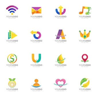 Definir modelo de logotipo gradiente abstrato colorido