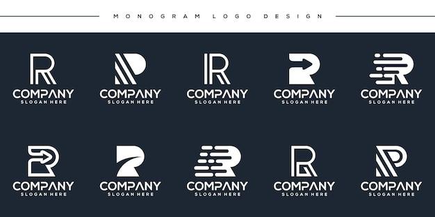 Definir modelo de logotipo moderno da letra r do monograma