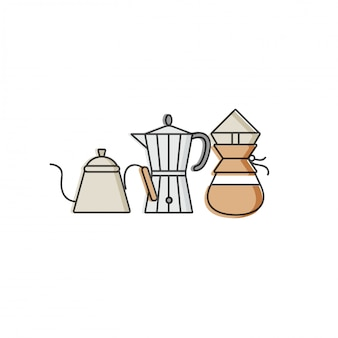 Definir modelos coloridos logotipos e emblemas - cafeteria e café. ícone de comida. rótulos no elegante estilo linear sobre fundo branco.