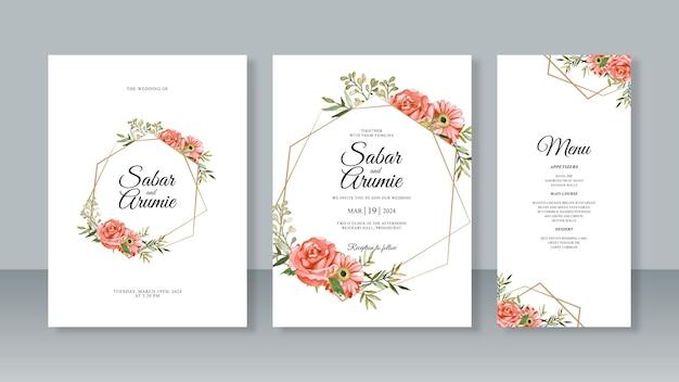 Definir modelos de convite de cartão de casamento com pintura em aquarela floral e borda geométrica