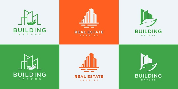Definir modelos de design de logotipo de imobiliária de coleção.