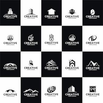 Definir modelos de design de logotipo de imóveis de coleção