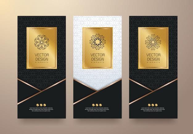 Definir modelos de etiquetas etiquetas douradas e molduras para produtos de luxo.