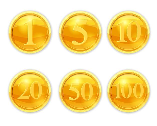 Definir moedas de ouro numerais ilustração moedas legais definir estilo de desenho vetorial isolado