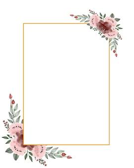 Definir moldura de rosas em aquarela em moldura de retângulo
