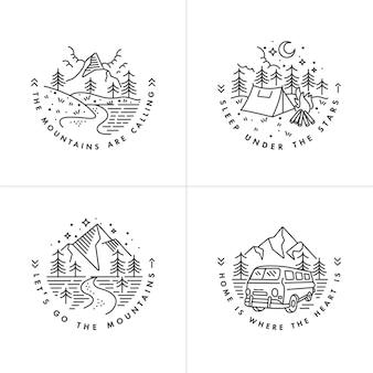 Definir montanhas de ícones e logotipos liear