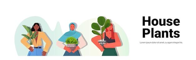 Definir mulheres cuidando de plantas de casa misturar raça donas de casa segurando vasos de plantas retrato cópia espaço horizontal