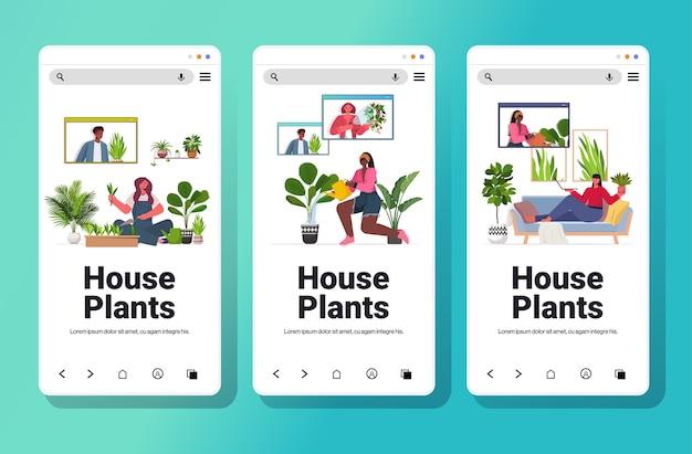 Definir mulheres cuidando de plantas domésticas misturar raça garotas discutindo com amigos durante videochamada coleção de telas de smartphone cópia espaço horizontal